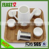 2015 top grade clean design wedding gift 6 pieces of chinese tea set with bamboo tray                                                                         Quality Choice