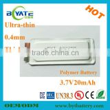 Ultra Small 3.7V20mah Li Polymer Smart Card Battery Cell Factory