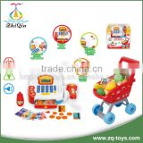 New design supermarket cash register toys shopping cart trolley cash register counter from zhiqin toys