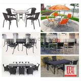 Hot Sale Outdoor PE Ratten wicker Full Woven Of Table Top Rectancle Dining Table dining set