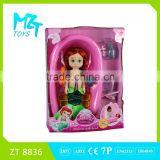 2016 New !Eco-friendly PVC12 inch vinyl meimaid doll+bathtub+bathrobe+two animals kids toys