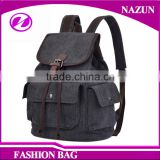 Factory Fashion Black Bag Design Travel Men Vintage Washed Canvas Backpacks With Draw String