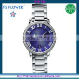 FS FLOWER - Women Fashion Stainless Steel Caseback Band Double Dial Bule Wrist Watch 5 ATM Water Resistant