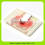 15280 2015 Simple High-quality leather RFID blocking leather credit card holder with money clip