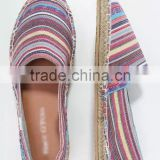 Alibaba women shoes ethnic woven striped fabric jute sole espadrille