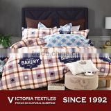Playing Card Patchwork Simple Plaid Comforter Cover set Bedding Bed Sheets Set Full Size Brown