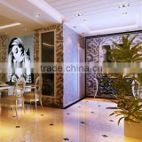 LJ JY-P-D06 Brown Mosaic Tile Living Room Glass Wallpaper Design
