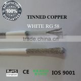 Stranded conductor RG 58 Tinned Copper conductor White RG 58 Coaxial cable Easy for solder