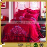 Chinese red classic embroidery design wedding bed sheet set
