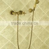 Dual handles in wall antique brass finishing bathroom shower faucet with brass shower handle