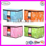 E363 Foldable Home Pillow Storage Box Flower Printed Container Clear Plastic Pillow Boxes