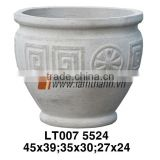 The Old Vietnamese Pottery Company Stylish Garden Decor Round Short Pattern Bonsai Pottery