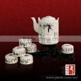 Chinese ink hand painting bamboo figure ceramic elephant tea set for home hospitality
