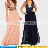 Sexy deep v neck custom made chiffon sequin adult princess maxi dresses for women sexy party evening long gown