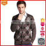Latest design intarsia cardigan mongolian cashmere sweater for mens