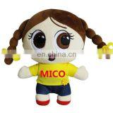 Custom LOGO Big Eyes Soft Rag Plush Young Girl Doll Toy With Two Braids Beautiful Kids Stuffed Plush Girl Doll