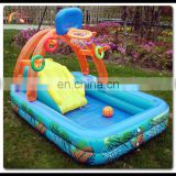 Inflatable Blow Up Toddlers Water Play Slide Swimming Pool Center with Basketball Game