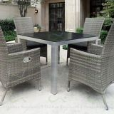 Outdoor Dining Sets with High Back Reclining Wicker Chairs Polywood Table