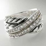 Sterling Silver 925 Designs Inspired Pave Diamond Crossover Ring