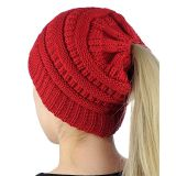 OEM Messy High Bun Stretchy Pony Tail Beanie Cable Knit Ponytail Beanie Hat