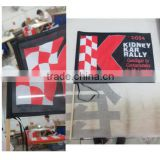custom polyester printing wooden or plastic hand held flags for event