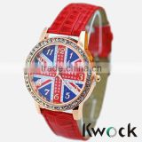 Union UK British Flag Dial Women Lady Girl Crystal bezel Leather Classic Quartz Watch