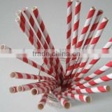 Bright Red Striped Paper drinking Straws for baby showers