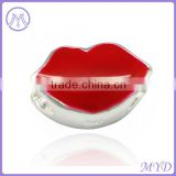 Valentine's Day 925 sterling silver lips bead in red enamel for DIY European charms bracelet