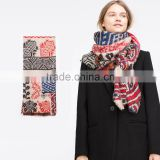 Best Selling Winter Warm Soft Colorful Printed Wool Square Scarf