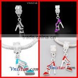 Vnistar Silver plated dangle bead with high-heel shoe shape pendant for bracelet PBD1225 in 14*36mm