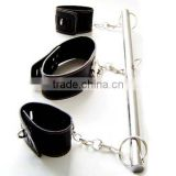 Stainless Steel Spreader Bar Leather Bondage Neck Collar Wrist Restraints Fetish/ Bondage Medical SEX TOYS/Medical products