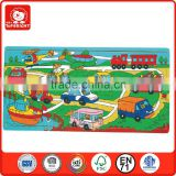 2014 popular child toys silk screen printing 21 pcs car bus plane boat design custom jigsaw puzzle