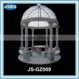 Green marble gazebo with metal roof