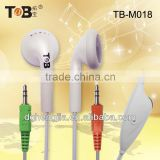 2015 high sensitivity stereo free samples PC computer Mp3 Mp4 earphone earbuds with mic and volume control