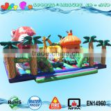 rainforest outdoor giant inflatable playgrounds, tropical island castle playland for kids