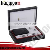Luxury black wooden wallet gift box with pen,cufflink                                                                         Quality Choice