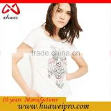 China alibaba custom 100% cotton trendy owl sequin embroidery design white t shirt woman