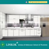 Linkok Furniture European style white high gloss UV acrylic with flower drawing pattern modern full set whole kitchen cabinet                                                                         Quality Choice