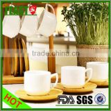 Europe style custom ceramic cup with bamboo saucers