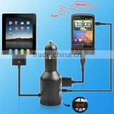 supply New design 2in1 FM transmitter car charger for iphone 4,4s,iphone 3g&3GS,IPAD2&3