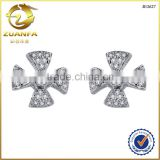 best quality women men unisex jewelry white cz micro paved cross earrings                                                                                                         Supplier's Choice