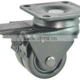 Twin wheel Nylon Caster, low gravity for heavy loading, swivle with brake. small furniture caster