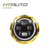 HTAUTO Led Projector 60W Auto Led Light ATV Truck 7INCH Round Led Headlight with Angel Eyes LED DRL