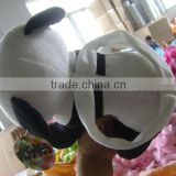 30cm promotional customzied stuffed black/white plush panda animal shape handbag toy with handgrip