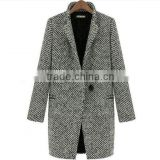 2014/2015 Fashion Grey Notched Collar Wool Coat,women european fashion winter wool coats