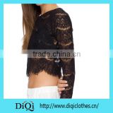Long sleeve black colour lace material new arrivel clothes