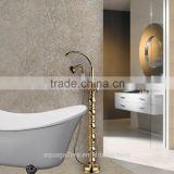 Floor Stand Gold Finish Brass Bathtub Faucet