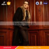 Luxury and big raccoon fur collar 100% woolen jacket super-long black cashmere woolen jacket