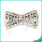 Zinc Alloy Metal Silver Bow Slide Charm With Clear Crystals