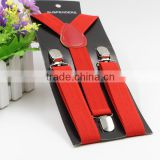 Promotional red Braces Suspender For Kids metal clips personalized suspenders for kids with wholesale price